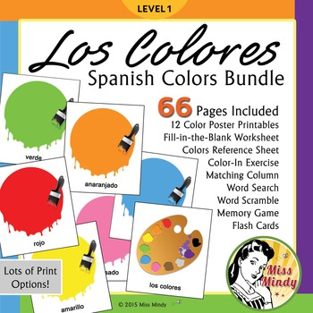 Spanish Colors Bundle Los Colores Posters, Worksheets, Flash Cards