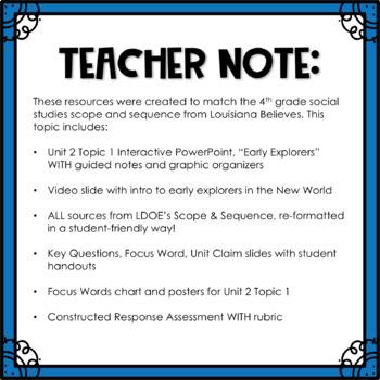 Louisiana Social Studies 4th Grade Unit 2 Topic 1 COMPLETE TASK!