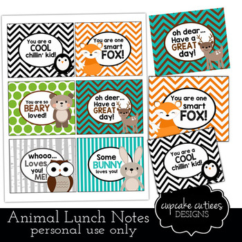 Lunch Box Notes Digital Tag Printable Animals- For Parents TpT