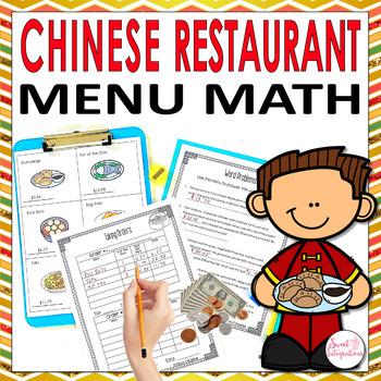 MATH RESTAURANT MENU ASIAN FOOD - Real World Math Grades 3-4 TpT