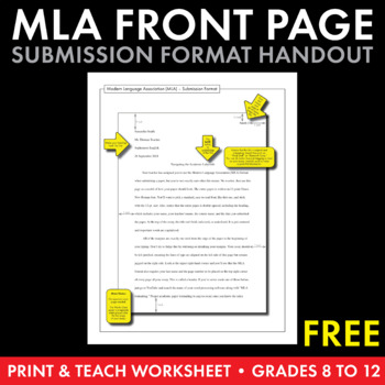 MLA Paper Formatting \u2013 FREE Handout to Model MLA Front Page