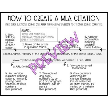 MLA Website Citation by Middles in the Midwest TpT