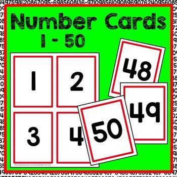 Number Cards 1-50 Math Center by Elizabeth McCarter TpT