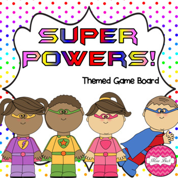Super Powers (Superhero themed math game board) by Miss Beck TpT