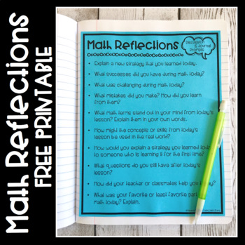 Math Reflection Discussion  Journal Prompts by Create Teach Share
