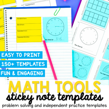 Math Sticky Note Template by The Stellar Teacher Company TpT