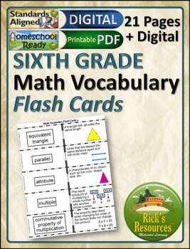 Math Vocabulary Activity Flash Cards 6th Grade by Rick\u0027s Resources