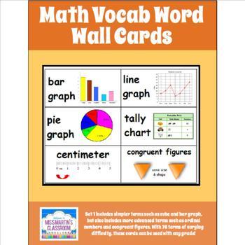 Math Word Wall Vocab Cards by Miss Martin Teachers Pay Teachers