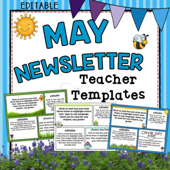 May Newsletter Templates ~ Editable by TxTeach22 TpT