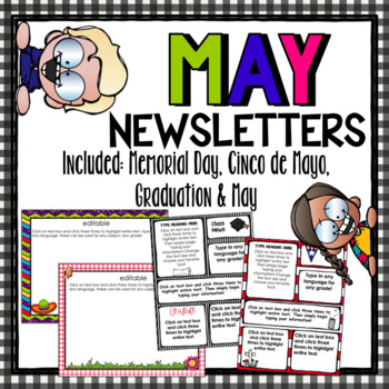 May Newsletters~ Includes Cinco de Mayo, Graduation, and Memorial