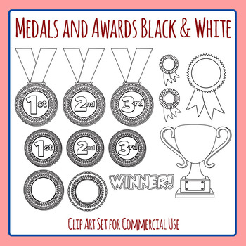 Medals and Awards and Rosettes Black and White Commercial Use Clipart Pack