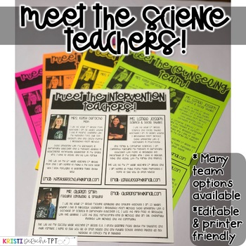 Meet the Science Teachers Newsletter Template- EDITABLE - Basic