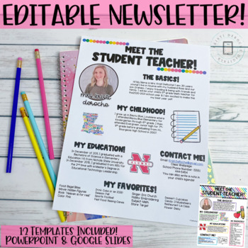 Meet the Student Teacher Newsletter Template- EDITABLE- Bright Stripes