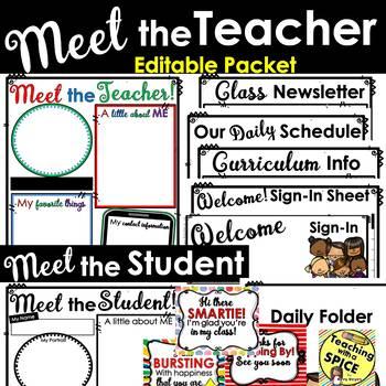 Meet the Teacher Template Editable PACKET l Open House l Back to School