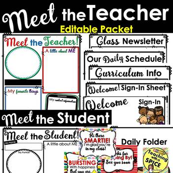 Meet the Teacher Template Editable PACKET Back to School and