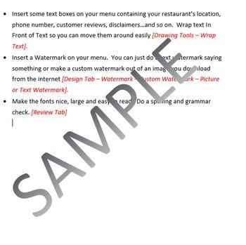 Restaurant Menu Lesson Activity for Teaching Microsoft Word Skills - how to make a restaurant menu on microsoft word