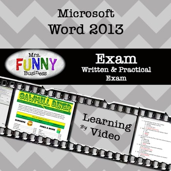 Microsoft Word 2013 Video Tutorial - EXAM by Mrs Funny Business TpT
