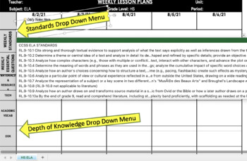 Middle School Common Core Weekly Lesson Plan Template - SS/Science