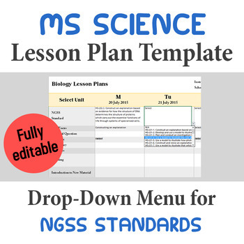 Middle School Science Lesson Plan Template - Drop Down NGSS Standards