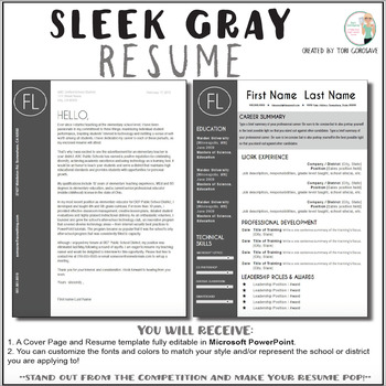 Teacher Resume Template - Sleek Gray and White TpT