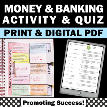 Life Skills Banking and Money, Financial Literacy Vocabulary Activities