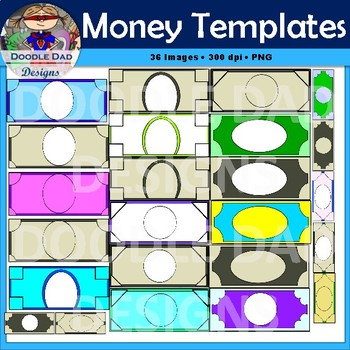 Money Template Clip Art (Customizable, by Doodle Dad Designs