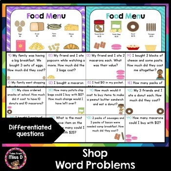 Money Word Problems Shop by Tales From Miss D Teachers Pay Teachers