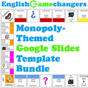 Monopoly-Themed Google Slides Template  Bulletin Board Bundle for - nice google slides themes