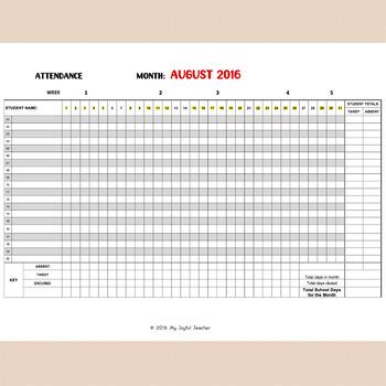 Monthly Attendance Sheet (editable) by My Joyful Teacher TpT