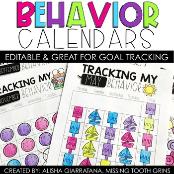Behavior Calendars 2018-2019 by Missing Tooth Grins TpT