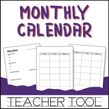 Monthly Calendar and Reflection Tools (based on Together Teacher
