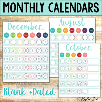 Monthly Calendars Aqua Theme great for Behavior Tracking by Kylie Sev