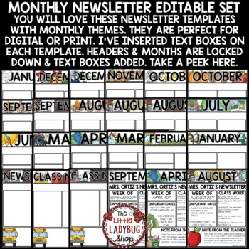 Monthly  Weekly Newsletter Template Editable Entire Year Class - weekly newsletter template