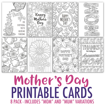 Mother\u0027s Day Printable Coloring Cards (8 Pack) Mother\u0027s Day PDF - mothers day card template