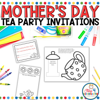 Mother\u0027s Day Tea Party Invitations by Time 4 Kindergarten TpT - 's day party invitation