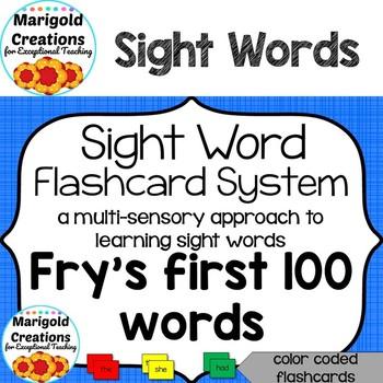 Multi-Sensory Sight Word Flash Cards Fry\u0027s First 100 Words Words 1