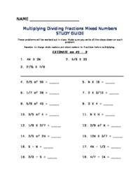Multiplying Dividing Fractions Mixed Numbers Worksheet | TpT