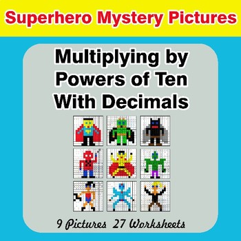 Multiplying by Powers of Ten With Decimals - Superhero Color By Code