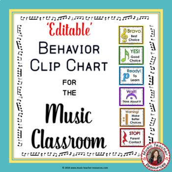 Music Behavior Chart - \u0027EDITABLE\u0027 by MusicTeacherResources TpT