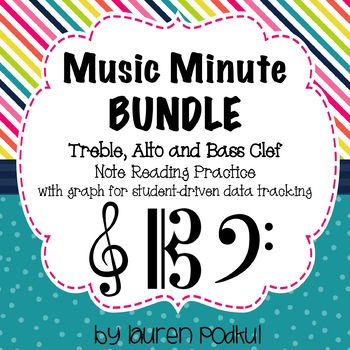 Music Minute BUNDLE - Treble, Alto, and Bass Clef Note Reading Practice - base cleff