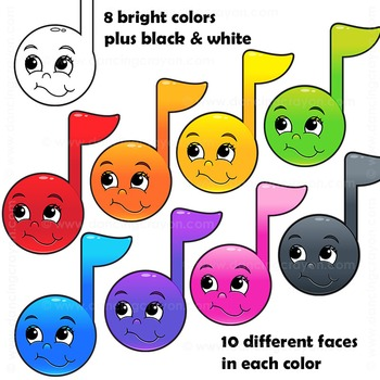 Music Notes with Cartoon Faces Clipart by Dancing Crayon Designs