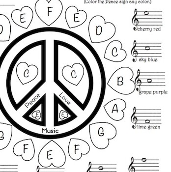 Music - Peace, Love, Music Treble Clef Color Sheet TpT