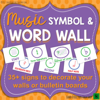 Music Word Wall Music Symbol Bulletin Board by Band Directors Talk Shop