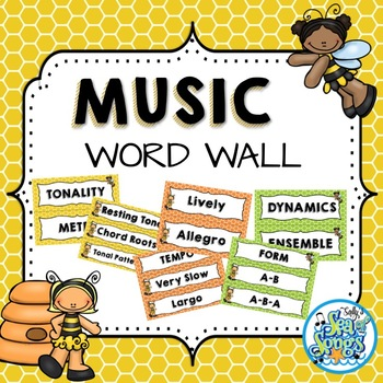 Music Word Wall - Busy Bee Kids by Sally Utley TpT