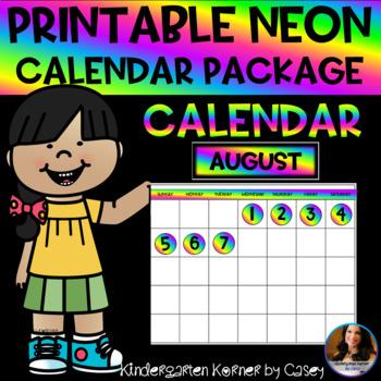 NEON Printable Calendar Set- Months Numbers 1 to 31 Bulletin Board