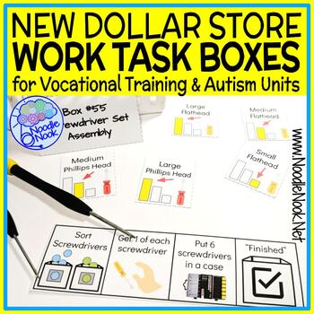 NEW Dollar Store Vocational Work Task Boxes- 21 Activities with Visuals