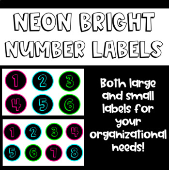 Neon Bright Number Labels Numbers 1 - 50 by Holz House TpT