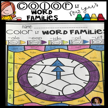 New Year\u0027s Color by Code Word Families Printables by Kindergarten Rocks