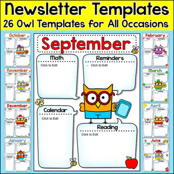 Newsletter Template Smarty Pants Owls Theme by Pink Cat Studio TpT