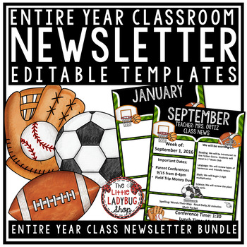 Sports Theme Classroom Monthly  Weekly Newsletter Template Editable - weekly newsletter template
